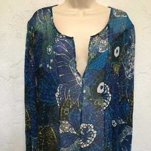 Chico's Sheer Silk Tunic Mosaic Floral NEW